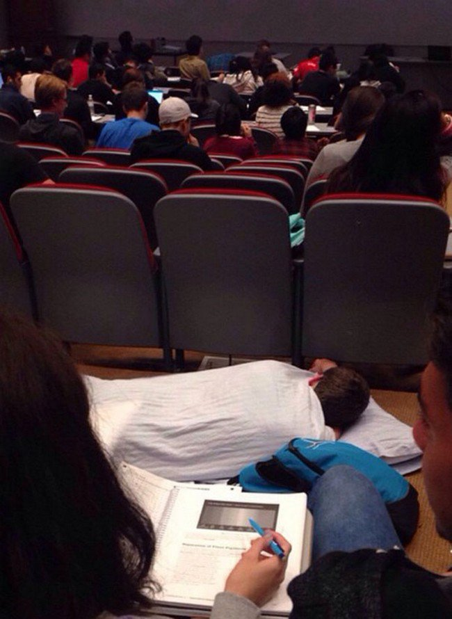 people who dont care man sleeping lecture