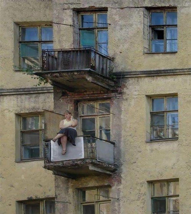 people who dont care woman sitting balcony