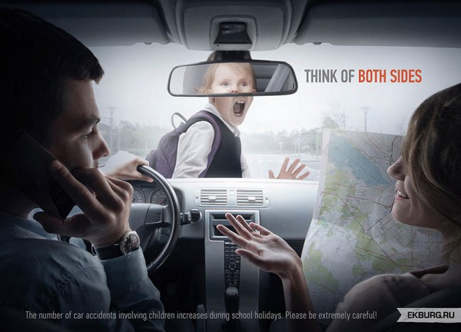 powerful advertising think of both sides car accident