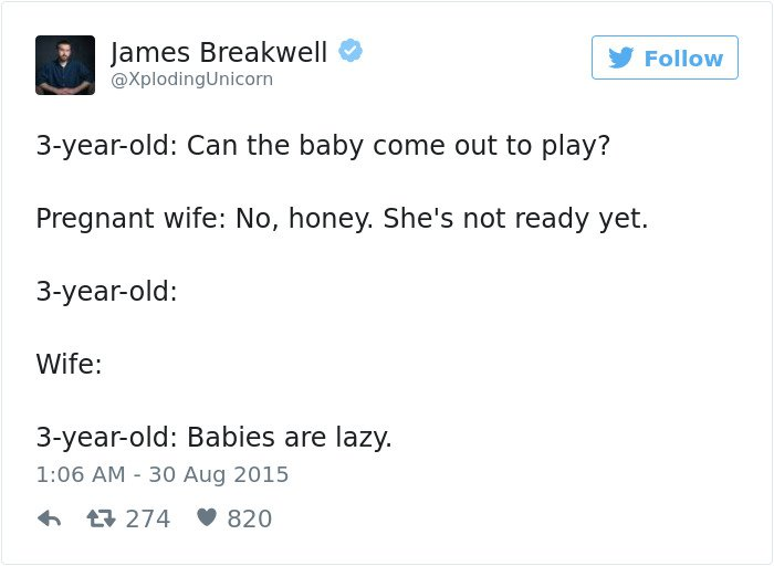 pregnancy tweets babies are lazy
