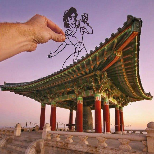 rich mccor paper cutout art aladdin temple