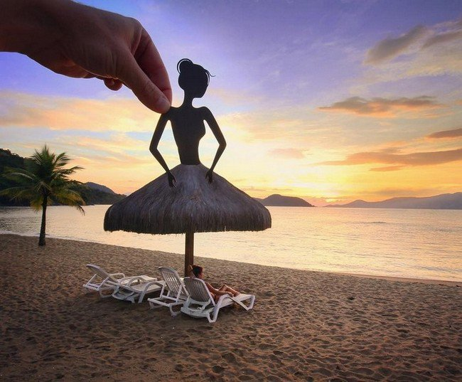 rich mccor paper cutout art ballerina sun umbrella