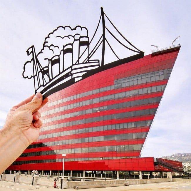 rich mccor paper cutout art boat