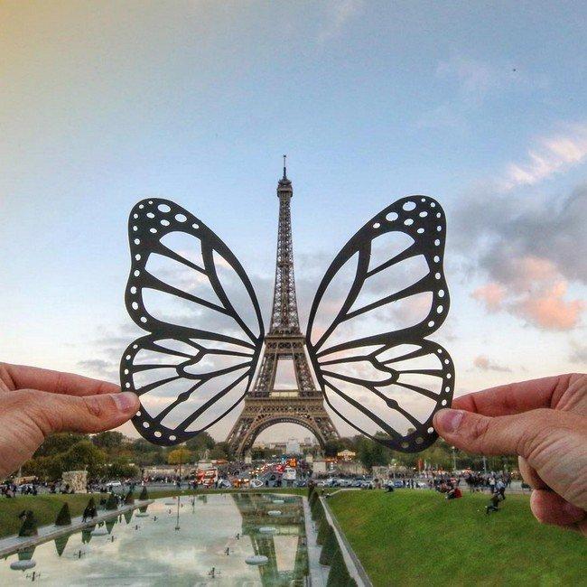 rich mccor paper cutout art eiffel butterfly
