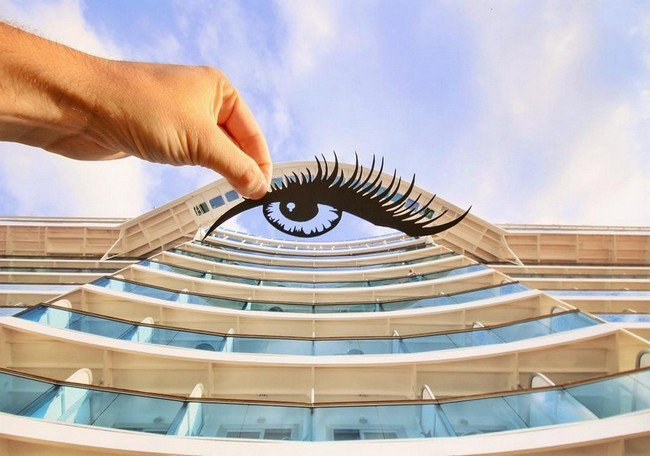 rich mccor paper cutout art eye building