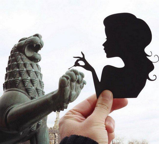 rich mccor paper cutout art lion woman nails