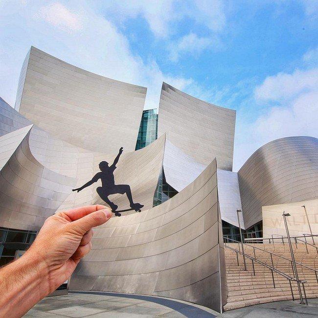 rich mccor paper cutout art skateboarder building