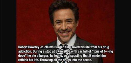 robert downey jr drugs burger king fact