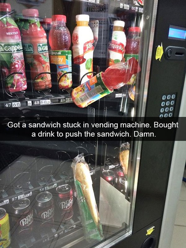 snapchat fails sandwich and drink stuck