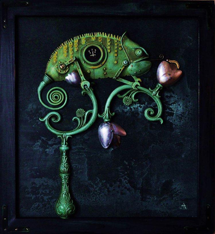 steampunk sculptures chameleon