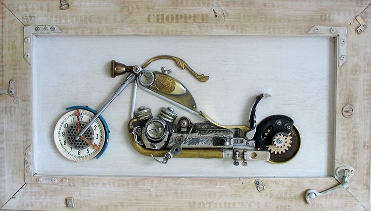 steampunk sculptures chopper