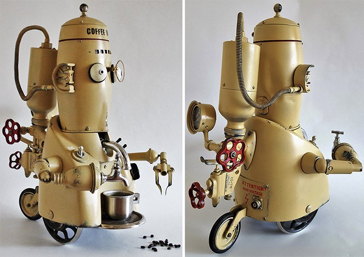 steampunk sculptures coffee man