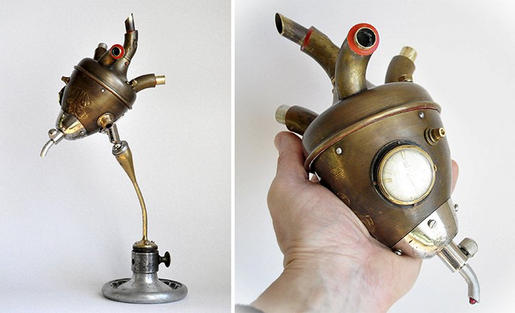 steampunk sculptures heart box