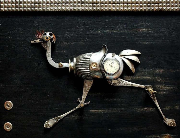 steampunk sculptures ostrich runner