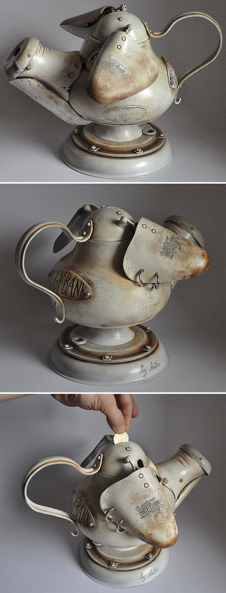 steampunk sculptures piggy bank