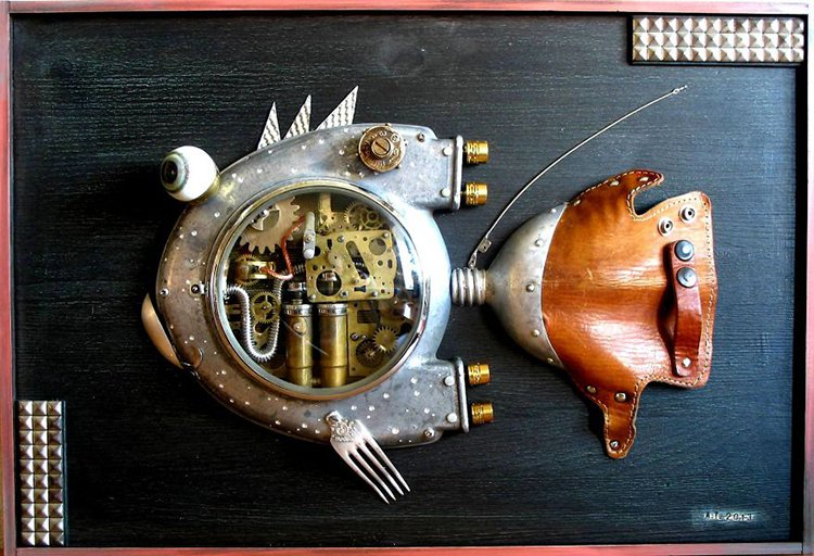 steampunk sculptures turbo fish