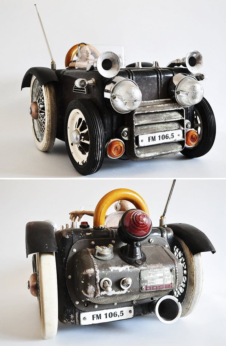 steampunk sculptures vintage radio car