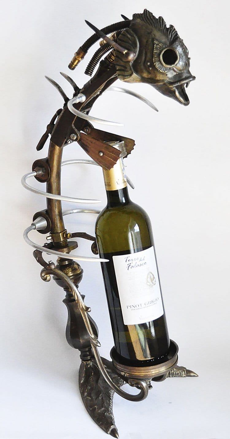 steampunk sculptures wine bottle rack