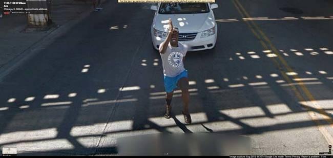 strange things google maps guy chasing car