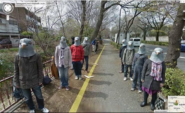 strange things google maps pigeon mask people