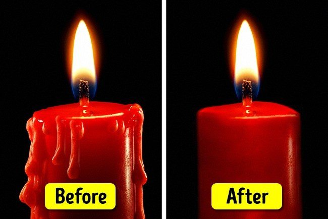 table salt hacks candle before after
