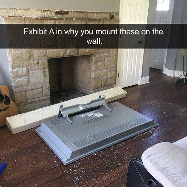 tv fallen to the floor
