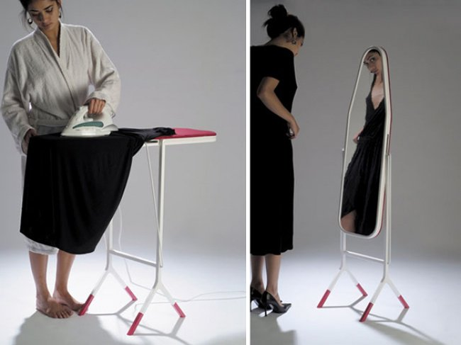 useful inventions ironing board with mirro