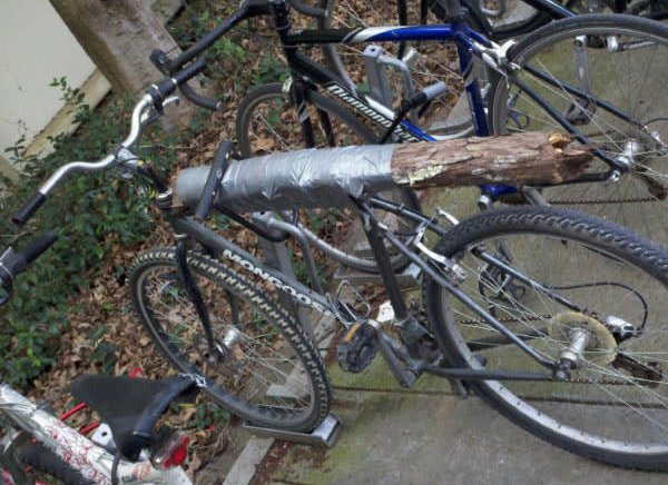 bicycle seat made from thick stick
