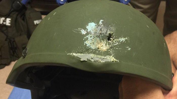 bullet struck helmet