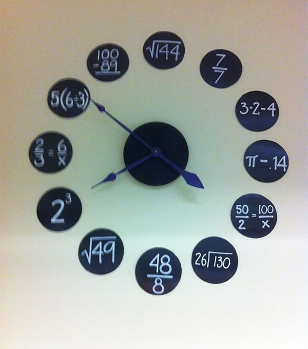 classroom clock with math equasions on
