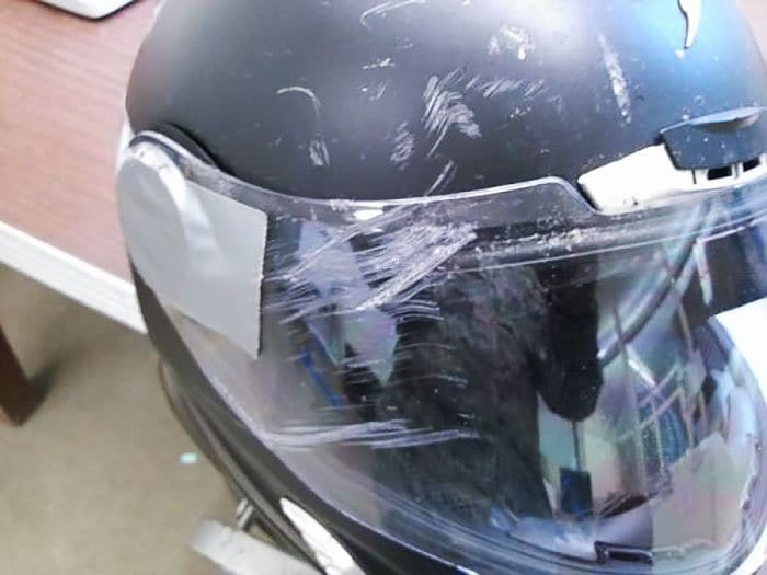 concrete damaged helmet