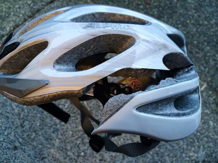 cracked bicycle helmet