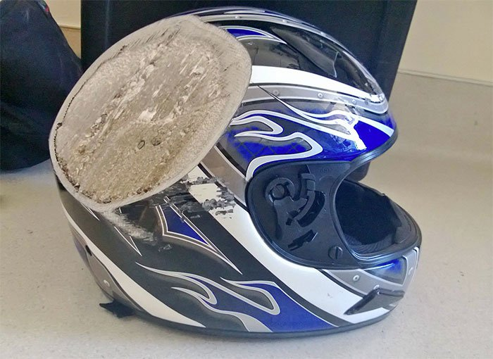 damaged motorbike helmet