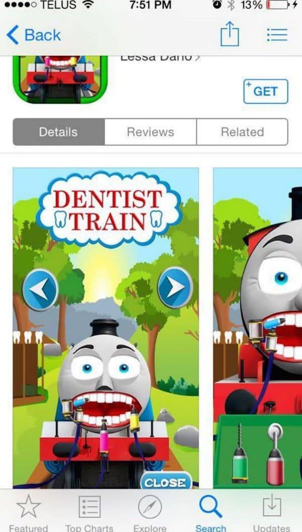 dentist train thomas the tank engine knock off