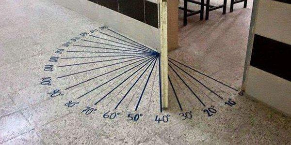 door with angles written on floor