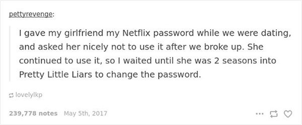 ex with netflix password revenge stories