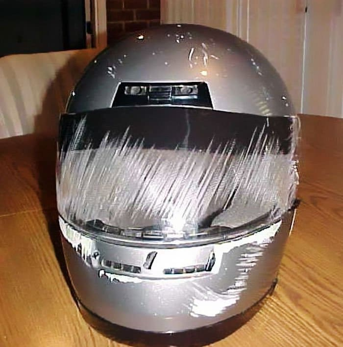 full faced helmet damaged