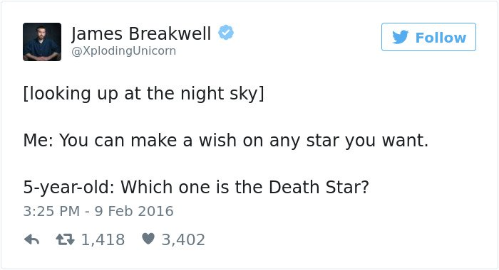funny kid tweets death star