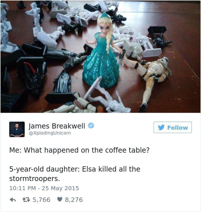 funny kid tweets elsa killed the stormtroopers