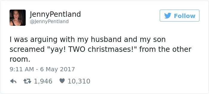 funny kid tweets two christmases