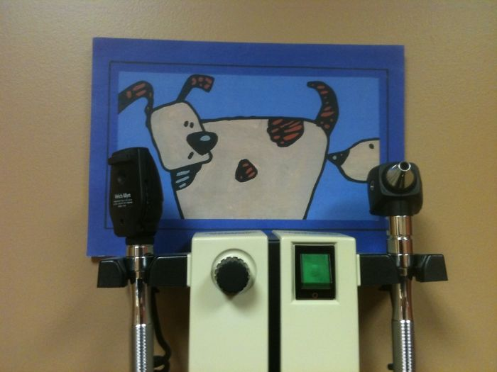 funny painting colorectal exam room