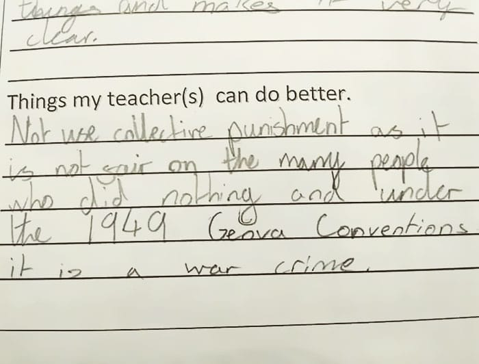 girl gives teacher feedback on collective punishment