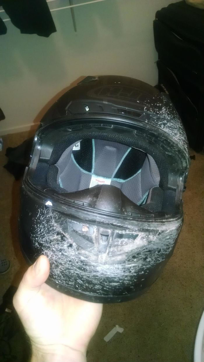 helmet after accident