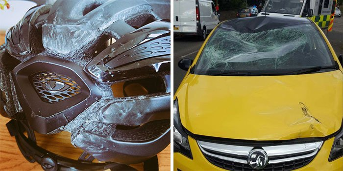 helmet damage after hitting windscreen