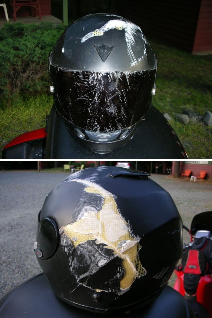 helmet damaged from accident