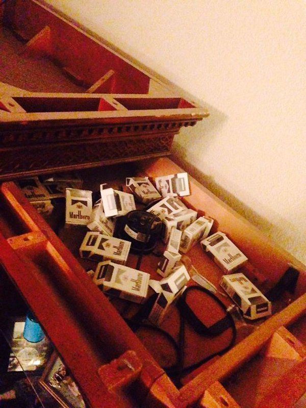 hidden cigarette packets