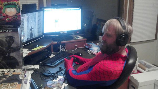 husband dressed as spiderma
