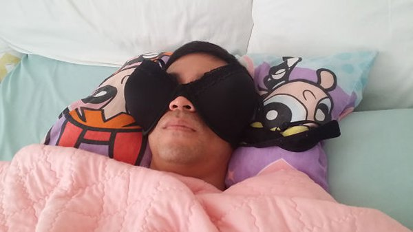 husband sleeping in bra