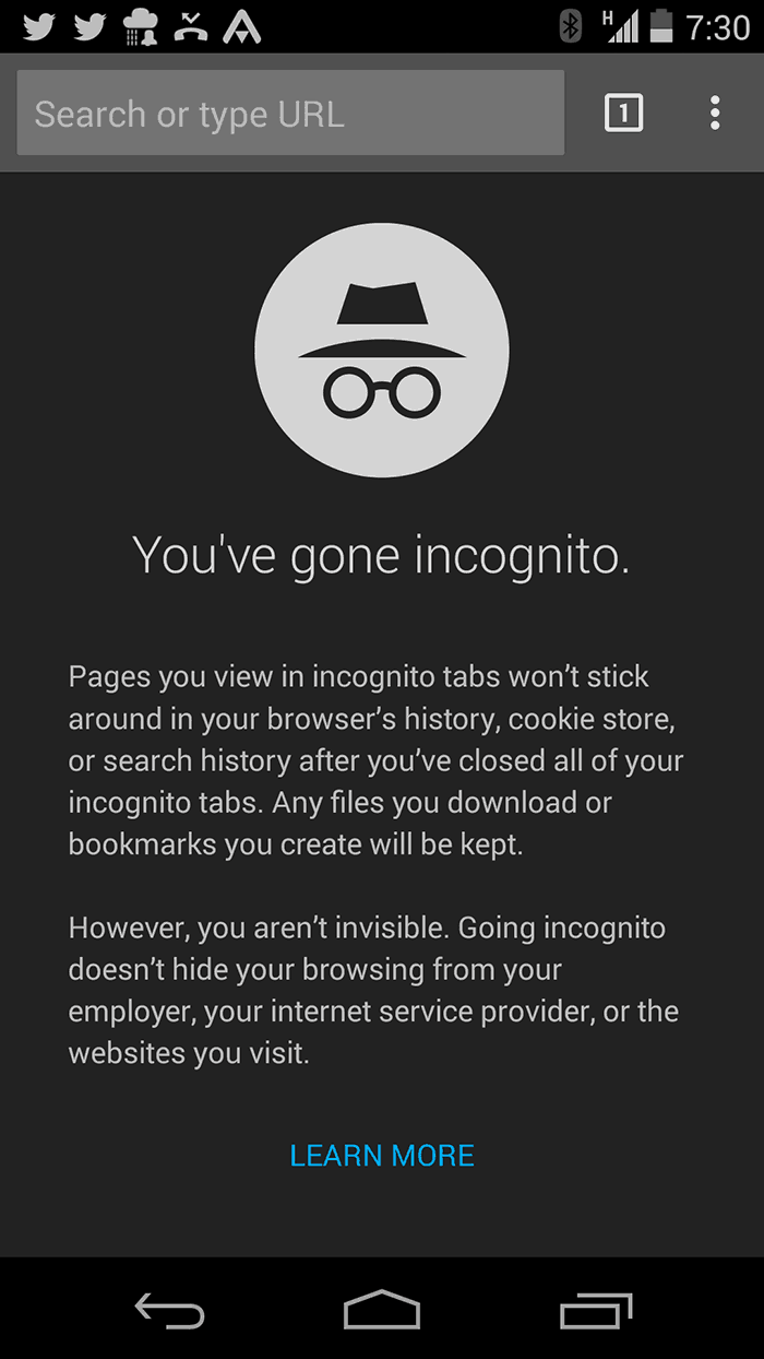 incognito mode