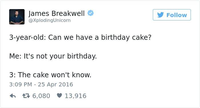 james breakwell tweets birthday cake
